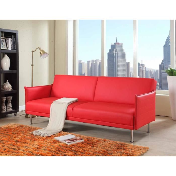 Banquette clic clac 3 places tissu rouge easy moncornerdeco for Clic clac convertible
