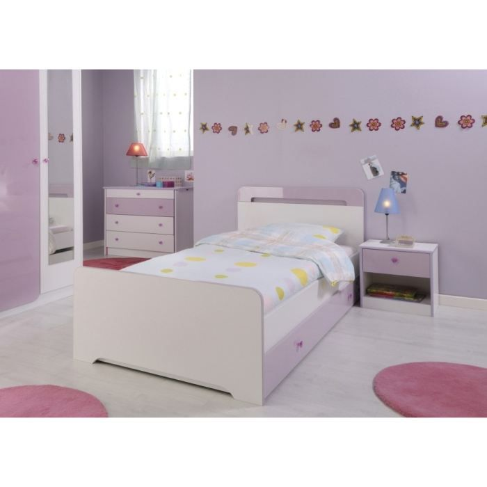 ladys lit enfant 90x190 cm tiroir blanc et parme achat vente structure de lit ladys lit. Black Bedroom Furniture Sets. Home Design Ideas
