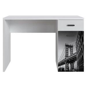 BUREAU  NEW YORK Bureau 1 porte 1 tiroir - Blanc mat - L 1