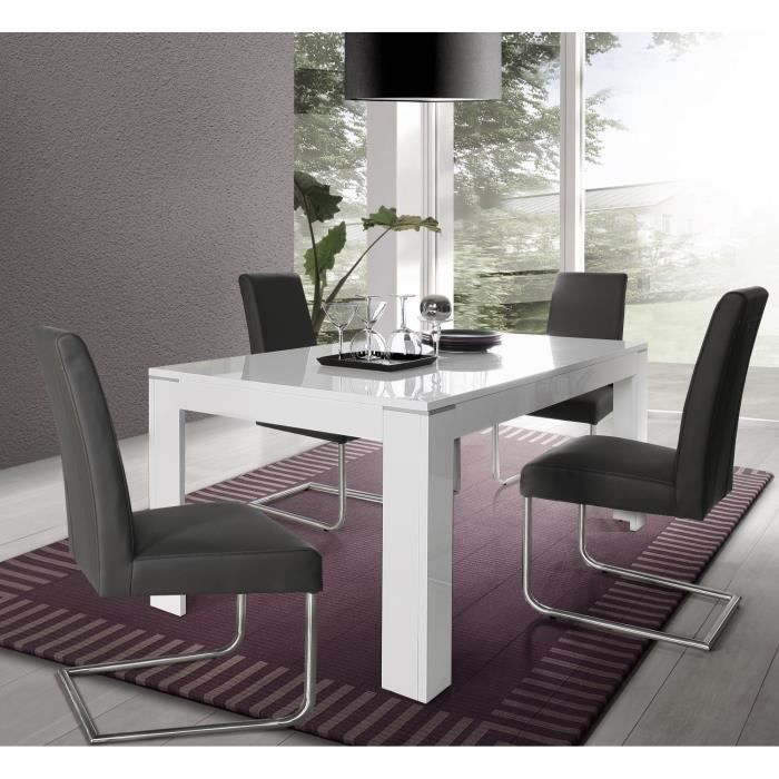 Table extensible blanche laque