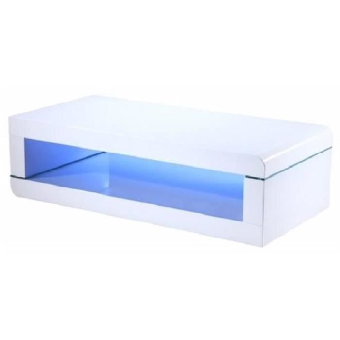 Luz table basse avec led multicolore style contemporain laqu blanc brillant - Table basse multicolore ...