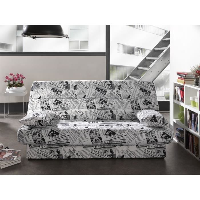 canap clic clac tissu coloris papier journal coco moncornerdeco. Black Bedroom Furniture Sets. Home Design Ideas