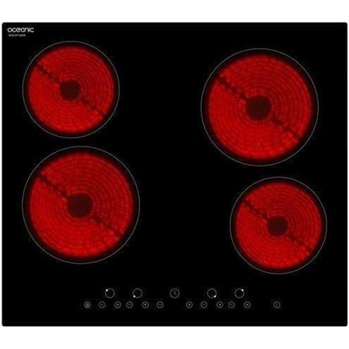 Oceanic Tv4zse Table Cuisson Vitroceramique 4 Zones 6000w L59xp52cm Revetement Verre Noir Achat Vente Plaque Vitroceramique Cdiscount